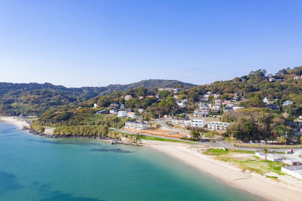 糸島の海沿いの別荘地伊都ハイランドパークドローン画像